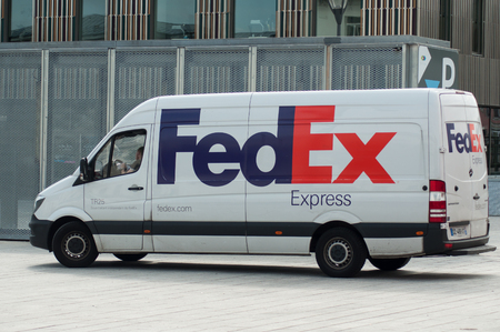 Mulhouse - France - 31 May 2018 - Fedex delivery truck parked in the street near train station
