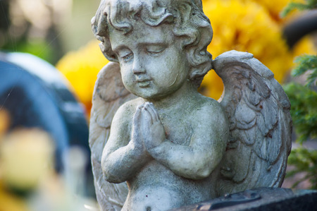 closeup of stoned angel on tomb in a cemetery on yellow flowers background