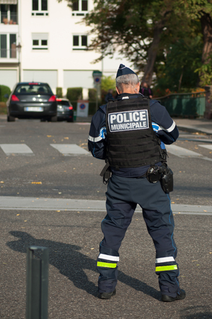 Mulhouse - France - 7 October 2018 - municipal police man  standing  in the street