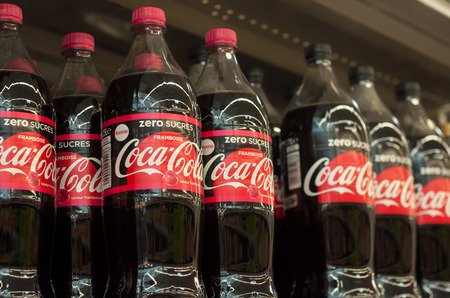 Mulhouse - France - 17 October 2018 - closeup of coca-cola bottles without sugar at Cora supermarket Editorial