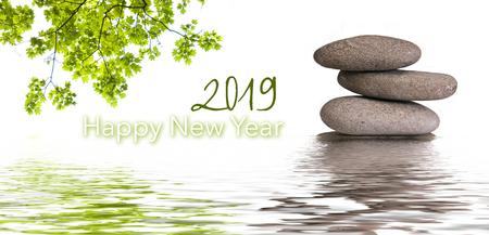 zen banner happy new year card 2019