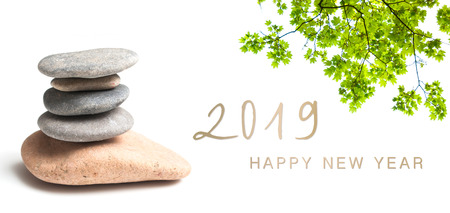 zen banner happy new year card 2019 Standard-Bild - 113088307