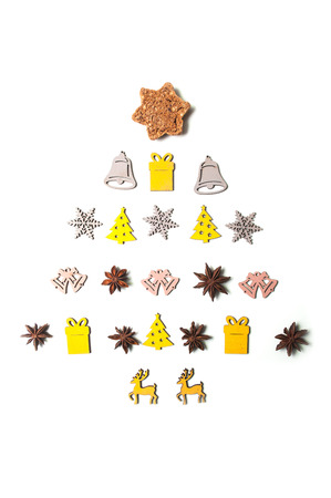 closeup of chirstmas tree concept with christmas decorative objects and food in shaped christmas tree