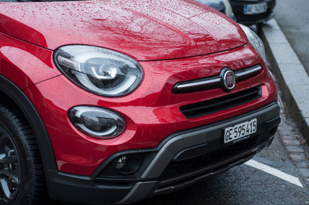 Mulhouse - France - 13 January 2019 - retail of rain drops on red fiat 500X front parked in the street Redakční