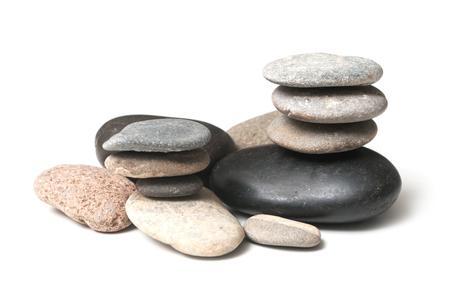 group of stone balance on white background Imagens
