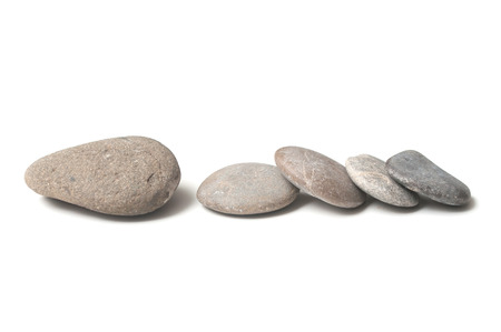 group of pebbles on white background