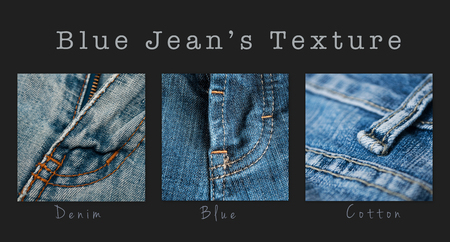 closeup of blue jeans texture - collage with text