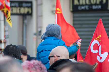 Mulhouse - France - 19 March  2019 - people from public service protesting with flags against the lower wages and new reforms from the government