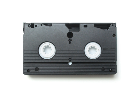 Closeup of vintage VHS Cassette on white background Stock Photo