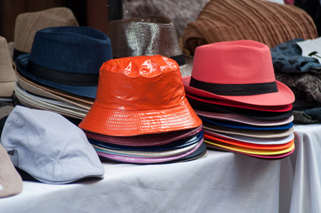 closeup of summer hats collection at the market Reklamní fotografie