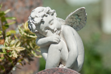 closeup of stoned angel on tomb in a cemetery