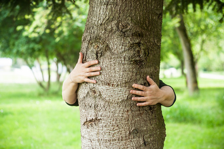 closeup of hands of woman behind a tree with eyes and mouth like a visage - funny tree with arms
