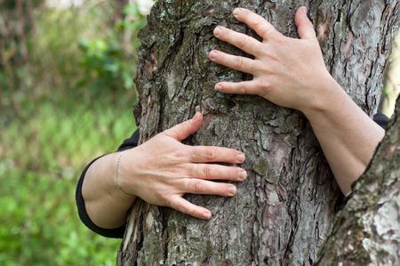 close-up van een vrouw die een boomstam omhelst in een bos