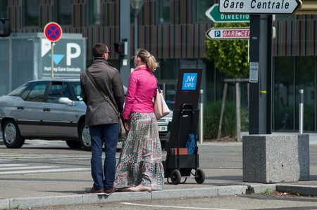 Mulhouse - France - 29 May 2019 - Jehovah witnesses standing in the street Editorial