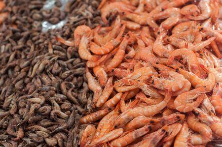 Closeup of fresh shrimps at the market