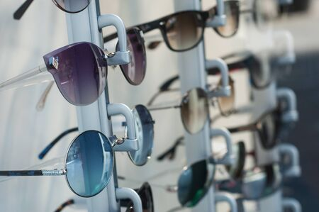 closeup of eyeglasses collection in store showroom Stok Fotoğraf