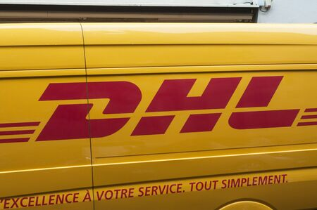 Mulhouse - France - 5 September 2019 - Closeup of DHL logo on truck in the street