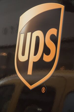 Mulhouse - France - 5 September 2019 - Closeup of UPS logo on truck in the street