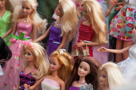 Riedisheim - France - 7 Septembre 2019 - Closeup of Barbie dolls collection at flea market in the street 報道画像