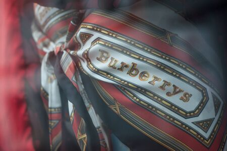 Mulhouse - France - 8 September 2019 - Closeup of Burberry logo on luxury clothes in fashion store showroom Editorial