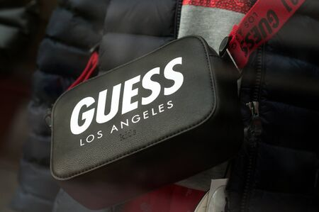 Mulhouse - France - 8 September 2019 - Closeup of leathe handbag from Guess the luxury brand in fashion store showroom
