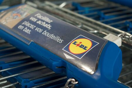 Mulhouse - France - 11 September 2019 - Closeup of Lidl supermarket trolleys alignment on the parking