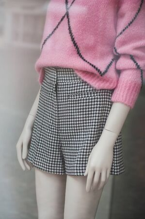 closeup of classic short for women on mannequin  in fashion store showroom Zdjęcie Seryjne