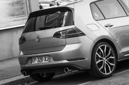 Mulhouse - France - 17 September 2019 - Rear view of grey Volkswagen Golf GTI parked in the street