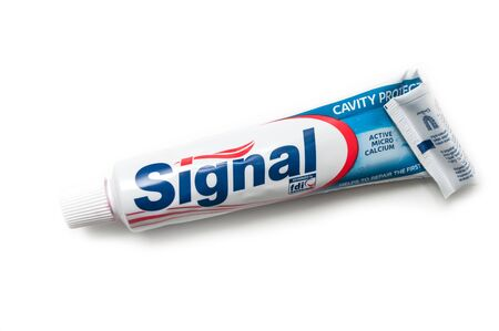 Mulhouse - France - 17 September 2019 - Closeup of Signal tooth paste on white background