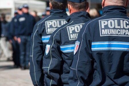 Closeup of policemen standing on the main place during  the Thirtieth anniversary ceremony of the creation of the municipal police Redakční