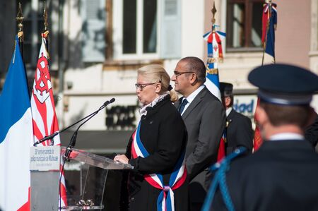 Mulhouse - France - 20 September 2019 -  Portrait of Michele Lutz  the mayor speaking during  the Thirtieth anniversary ceremony of the creation of the municipal police