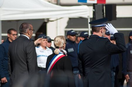 Mulhouse - France - 20 September 2019 -  Portrait of Michele Lutz  the mayor during  the Thirtieth anniversary ceremony of the creation of the municipal police