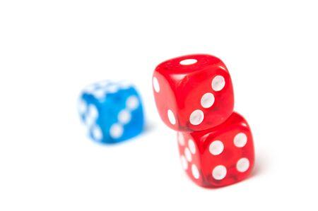 Closeup of colorful dices on white background Foto de archivo