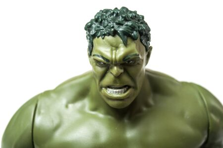 Mulhouse - France - 3 October 2019 - Closeup of Hulk character toy  of famous movie and series on white background Editorial