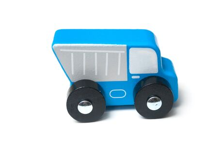 Closeup of miniature toy, wooden blue truck on white background Stock fotó - 132021490