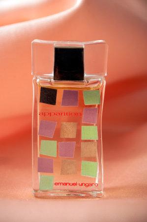 Mulhouse - France - 19 November 2019 - Closeup of Emmanuel Ungaro  perfume in a transparent bottle on satin background Sajtókép