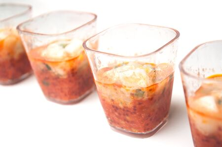 Closeup of mini appetizers in a little glasses  Zdjęcie Seryjne