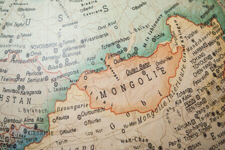 Closeup of vintage globe - Mongolia