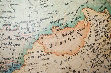 Primo piano del globo vintage - Mongolia