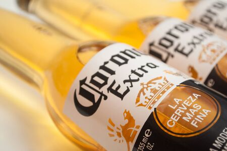 Mulhosue - France - 1 February 2010 - Closeup of corona bier bottles on white background, the famous mexican bier
