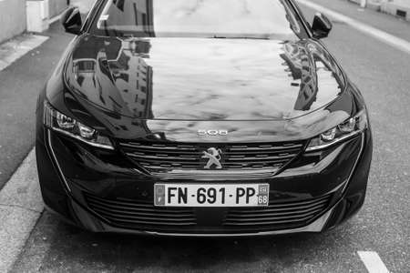 Mulhouse - France - 16 March 2020 - Front view of black Peugeot 508 parked in the street