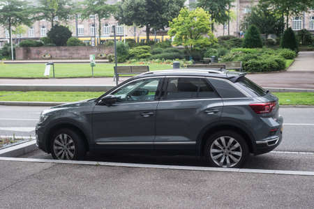 Mulhouse - France - 14 June 2020 - Profile view of grey Volkswagen t roc parked in the street