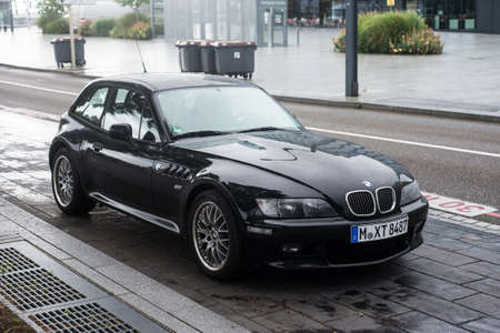 Mulhouse - France - 29 June 2020 - Front view of black BMW Z3 roadster parked in the street