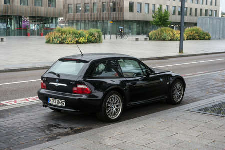 Mulhouse - France - 29 June 2020 - Rear view of black BMW Z3 roadster parked in the street