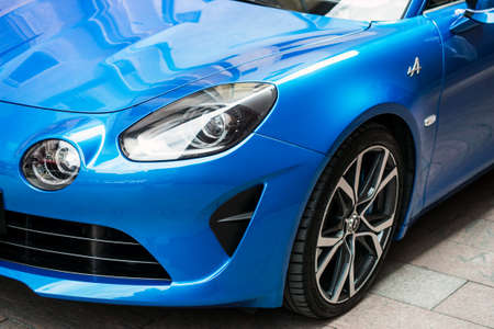 Mulhouse - France - 21 August 2020 - Front view of blue Renault Alpine A110 parked in he street