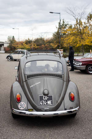 Mulhouse - France - 11 October 2020 - Rear view of grey Volkswagen beetle in a parking