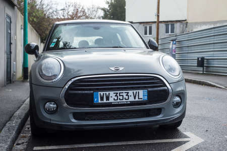 Mulhouse - France - 5 December 2020 - Front view of grey mini cooper S parked in the street