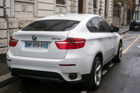 mulhouse - France - 6 December 2020 - Rear view of white BMW X6 SUV parked in the street