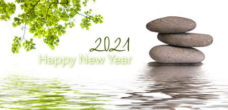 zen banner - happy new year card 2021 Stockfoto
