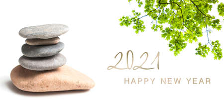 zen banner - happy new year card 2021 Archivio Fotografico